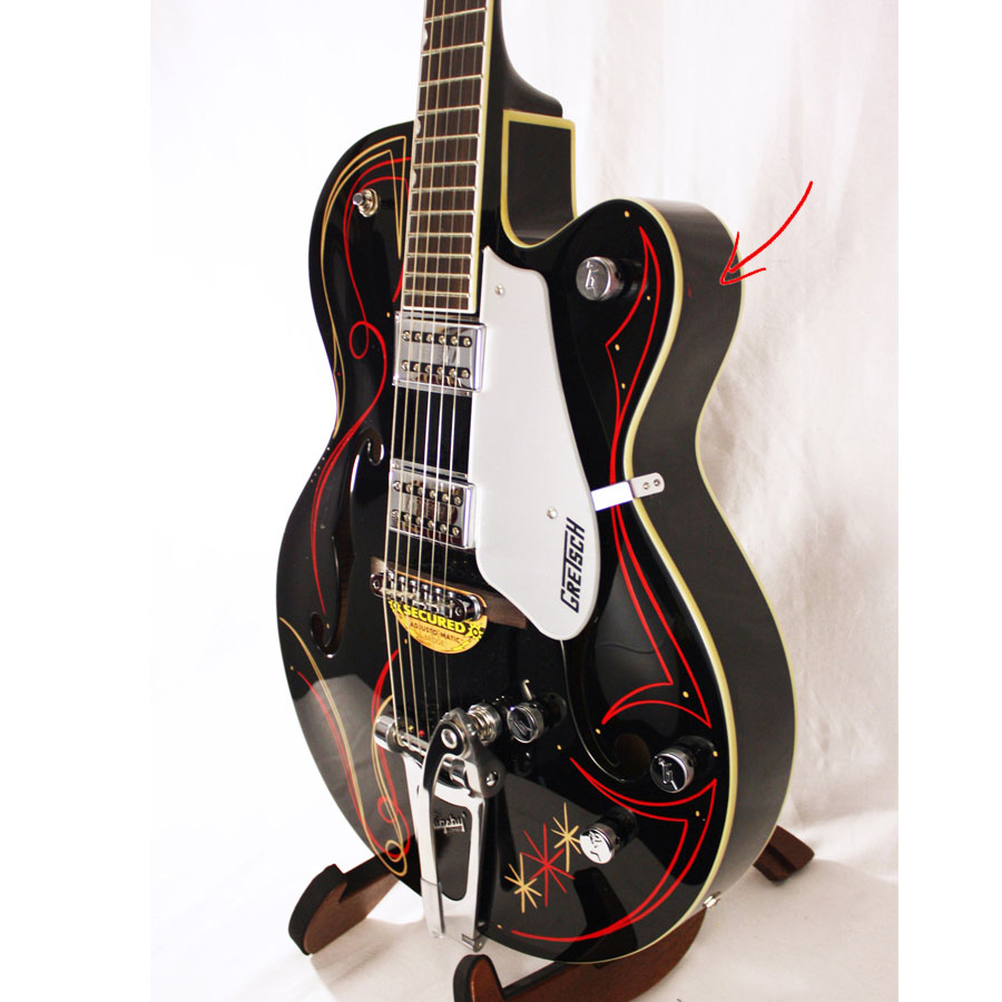 Gretsch G5120 Electromatic Black with Custom Hand Painted Graphics Blemished Body Detail