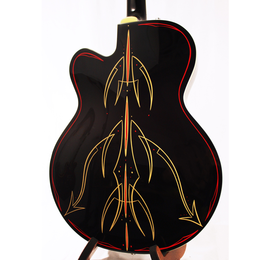 Gretsch G5120 Electromatic Black with Custom Hand Painted Graphics Blemished Rear Body Detail