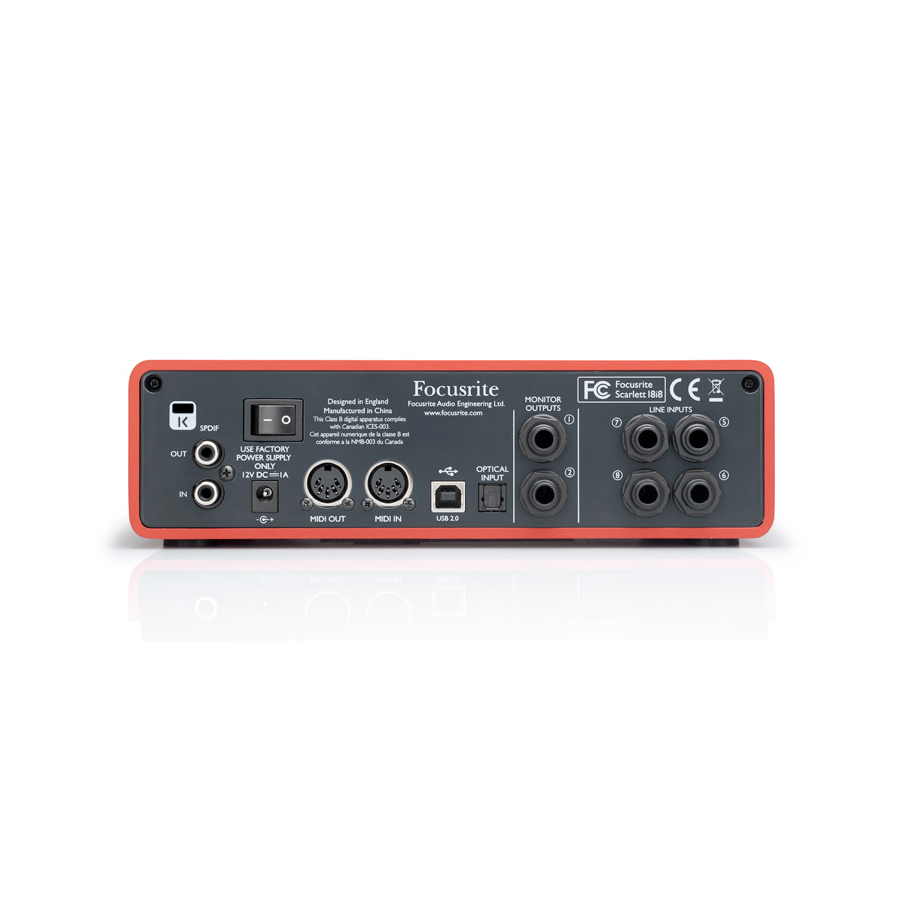 Focusrite Scarlett 18i8 Rear View