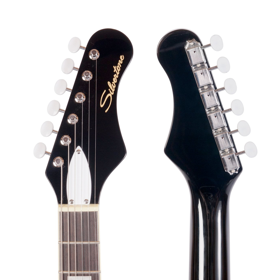 Silvertone 1478 Black Headstock Front and Rear