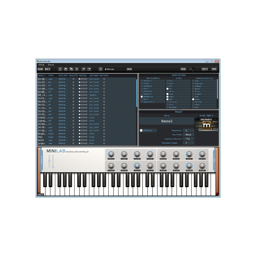 Arturia KeyLab 25 Software Screenshot