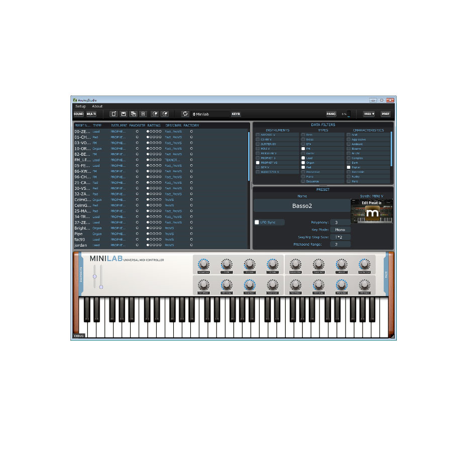 Arturia KeyLab 61 Software Screenshot