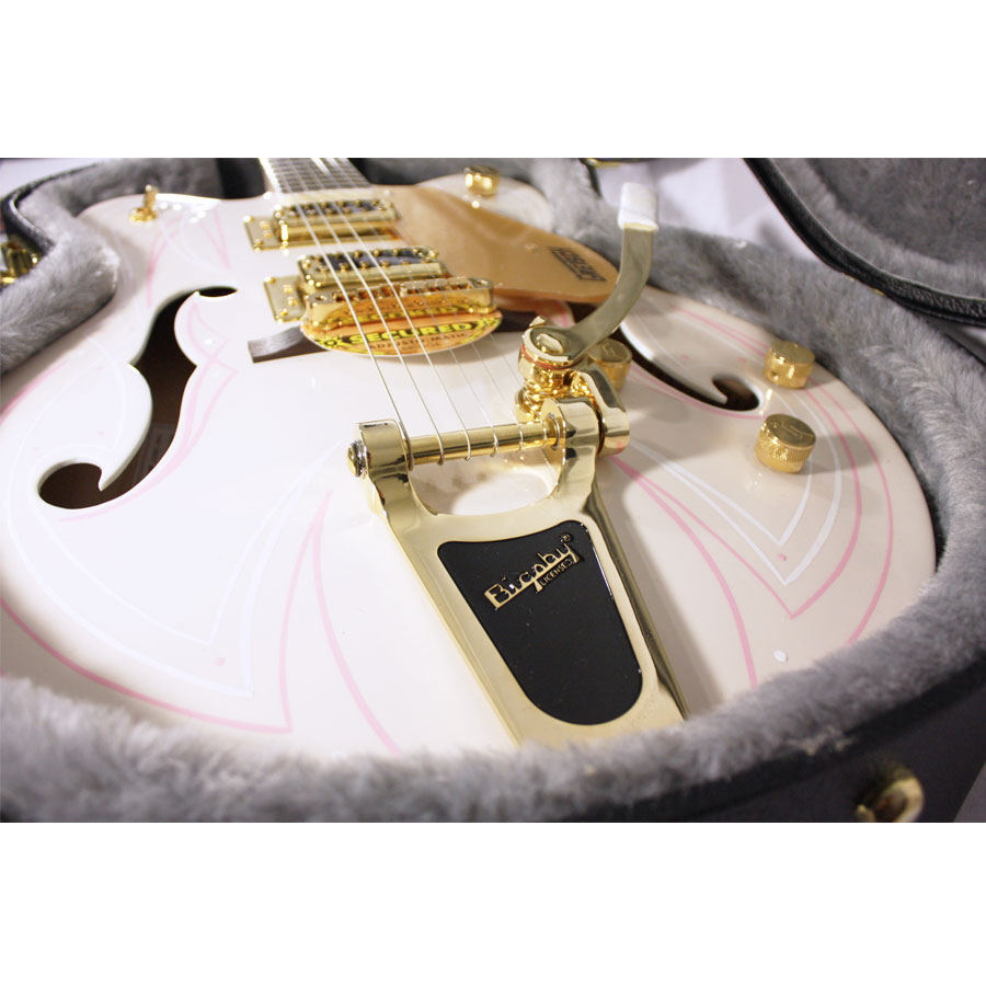 Gretsch G5422TDCG Electromatic Hollow Body Cherry Blossom with Custom Hand Painted Graphics Bigsby Detail