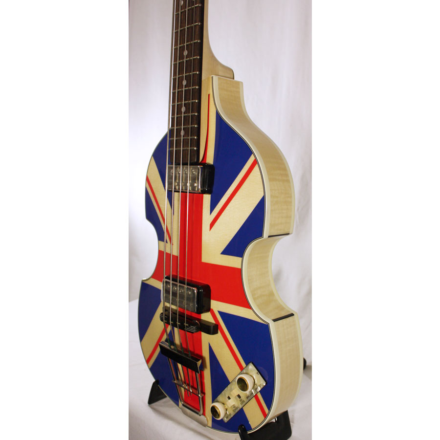 Hofner 2012 Diamond Jubilee Violin Bass - Union Jack 45 of 60 Body Angled