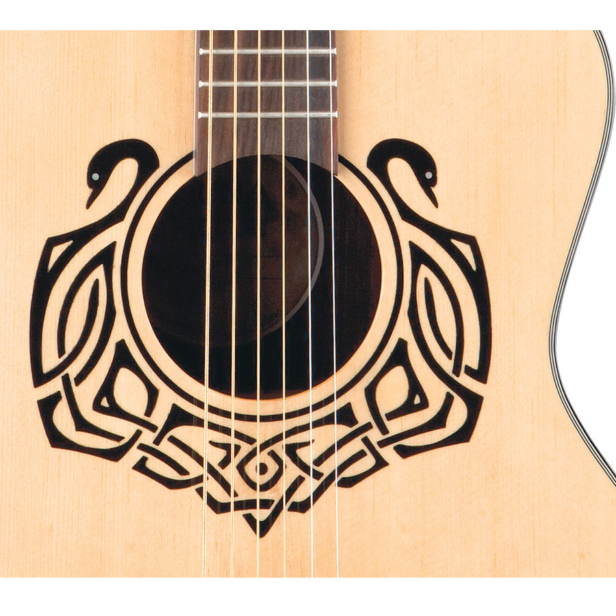 Luna Guitars Celtic Swan Soundhole Detail