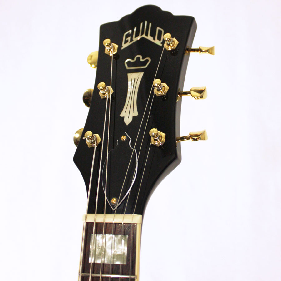 Guild M-75 Aristocrat Limited Edition Black Headstock Detail