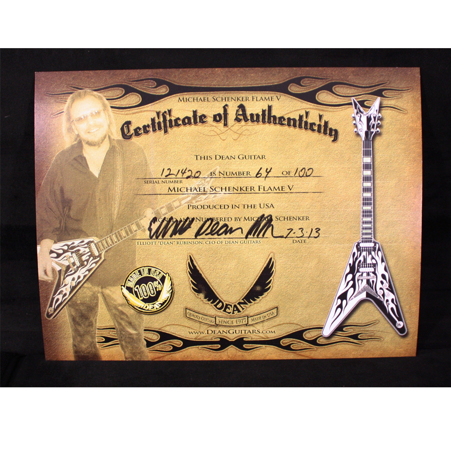 Dean USA Michael Schenker Signature Flames Certificate of Authenticity