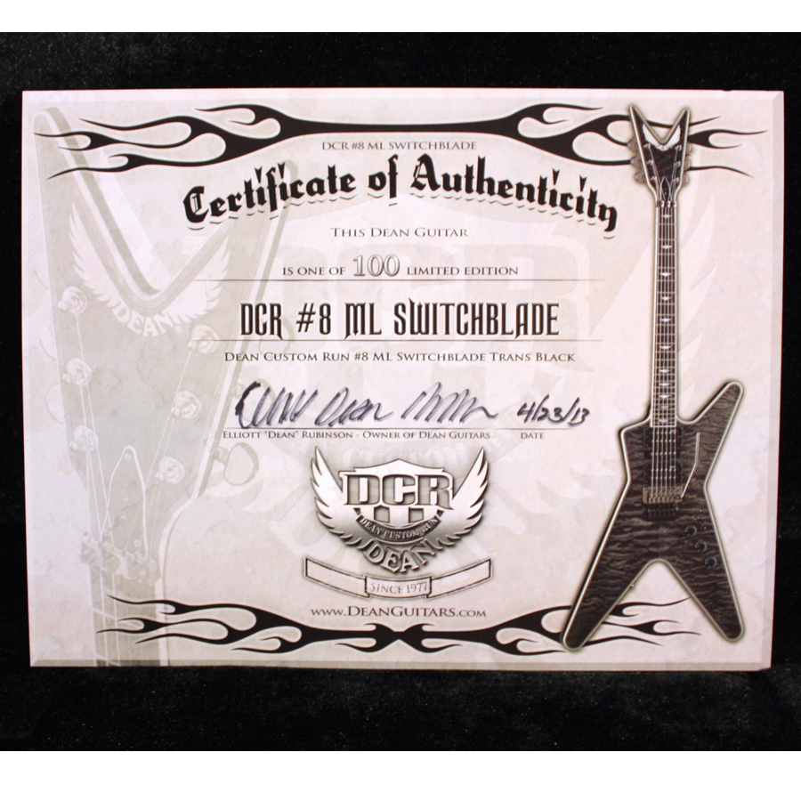 Dean Custom Run 8 ML Switchblade Transparent Black No. 12 of 100 Certificate
