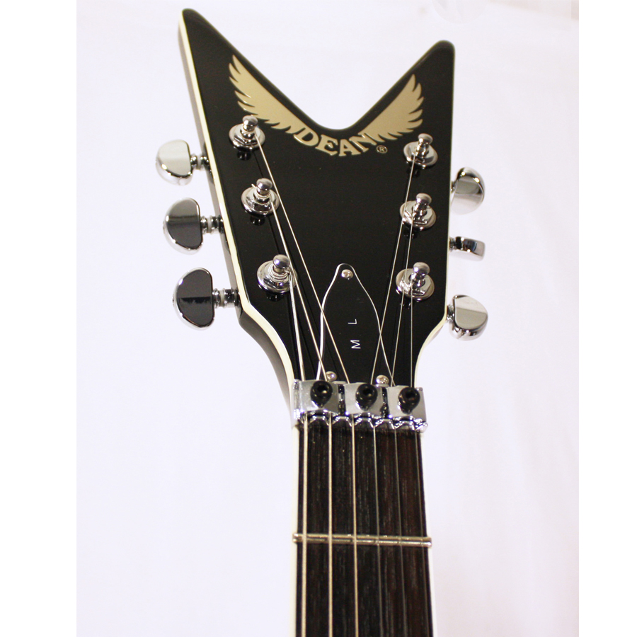 Dean Custom Run 3 ML Chrome Black No 34 of 100 Headstock