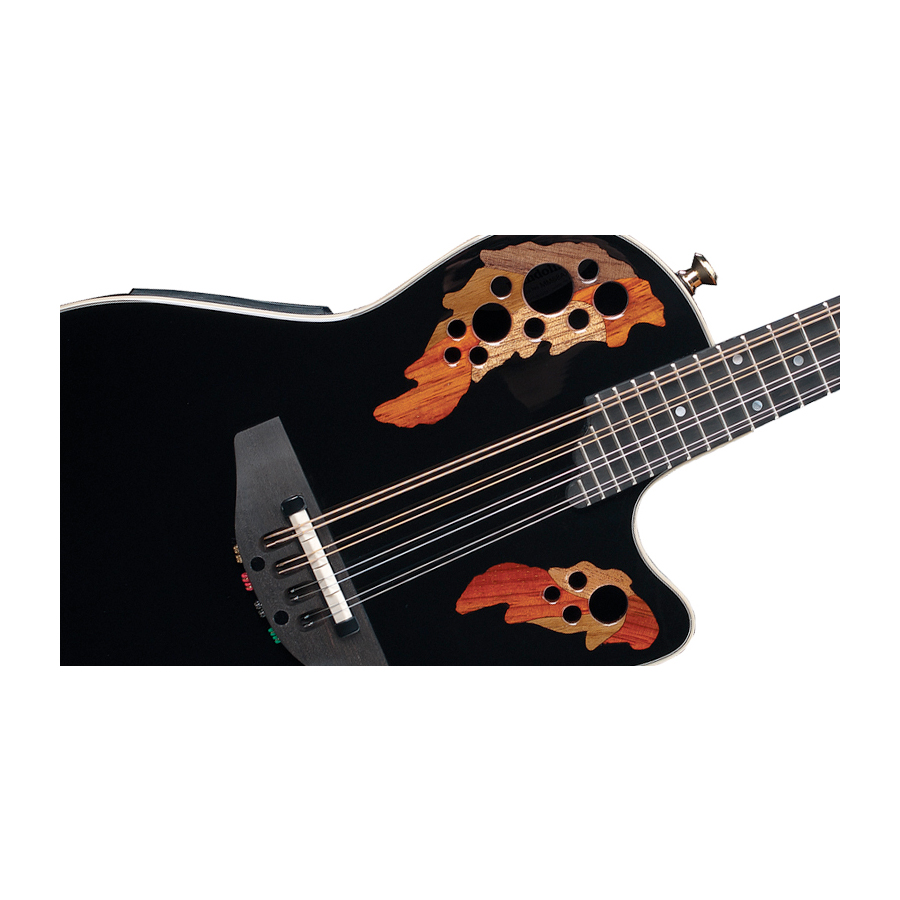 Ovation Pro Mandolin MM68AX Black w/ DLX Case Detail View