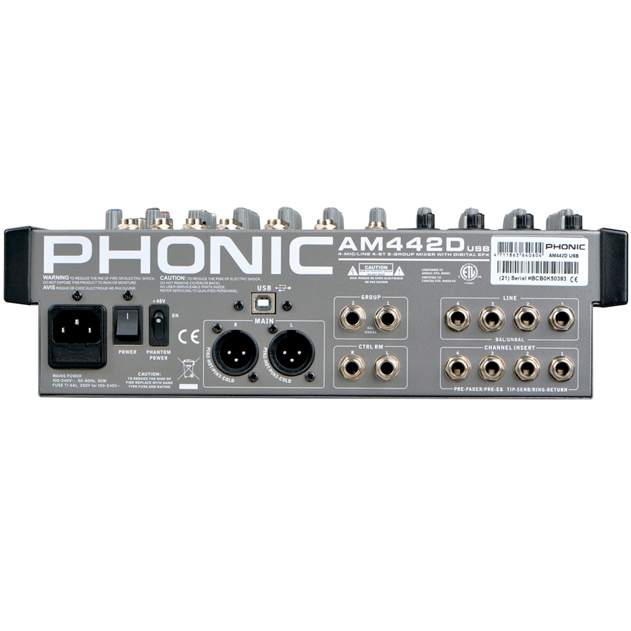 Phonic AM 442D USB Rear View