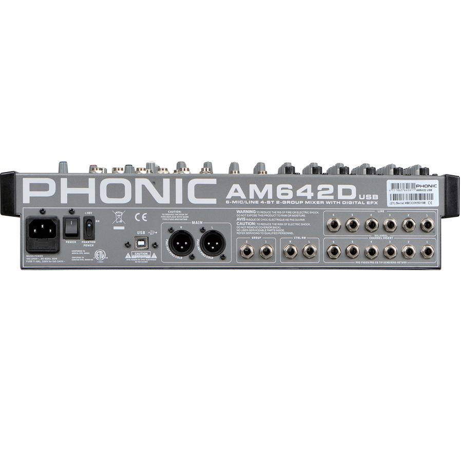Phonic AM 642D USB Rear View