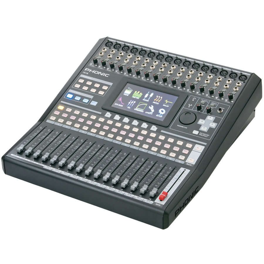 Phonic is16 16 input 8 bus digital mixing console w color for Firewire mixer motorized faders
