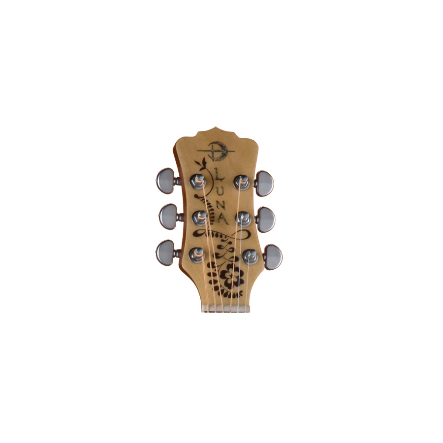 Luna Guitars Henna Oasis - Cedar Nylon Headstock View