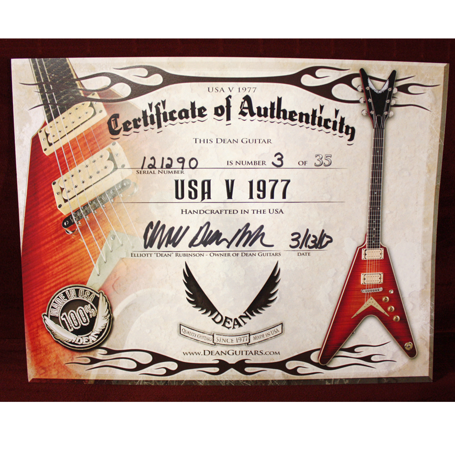 Dean USA V 1977 Trans Cherryburst Certificate of Authenticity