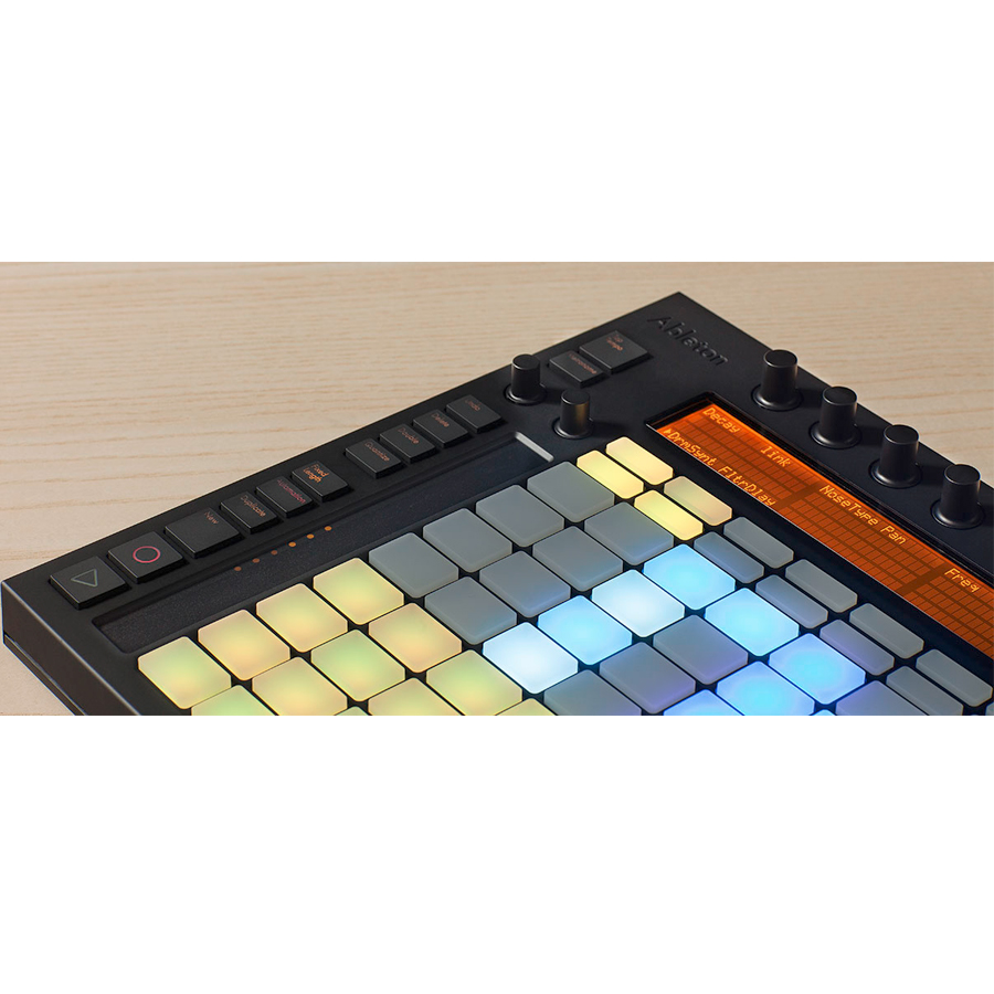 Ableton Push A touch strip with 24 LEDs for pitch bend or navigating through a drum rack.