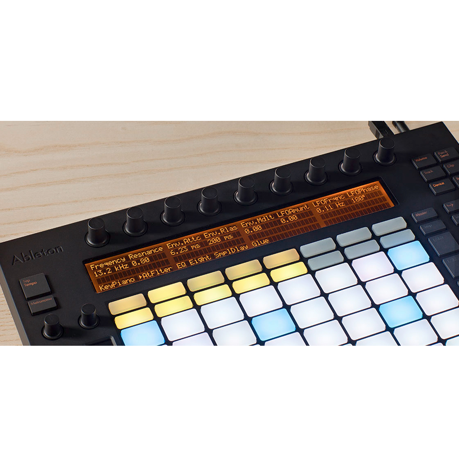 Ableton Push 11 touch sensitive endless encoders. A four line LCD display that adapts to show the important parameters you're working on.