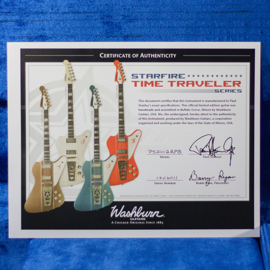 Washburn Paul Stanley Starfire Time Traveler - Pelham Blue Certificate of Authenticity
