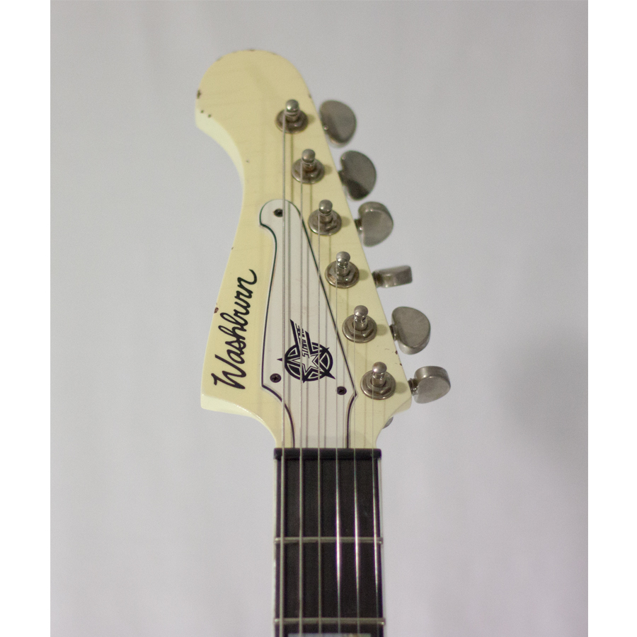 Washburn Paul Stanley Starfire Time Traveler - Polaris White Front Headstock Detail