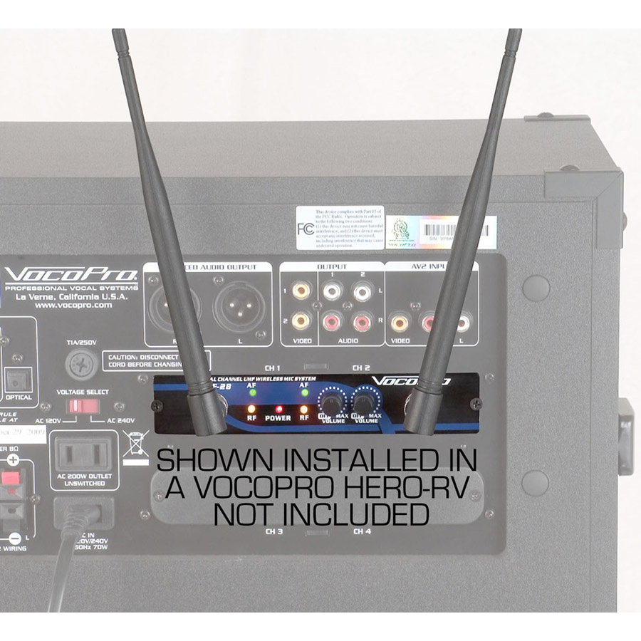 VocoPro UHF-28 7 Rear View