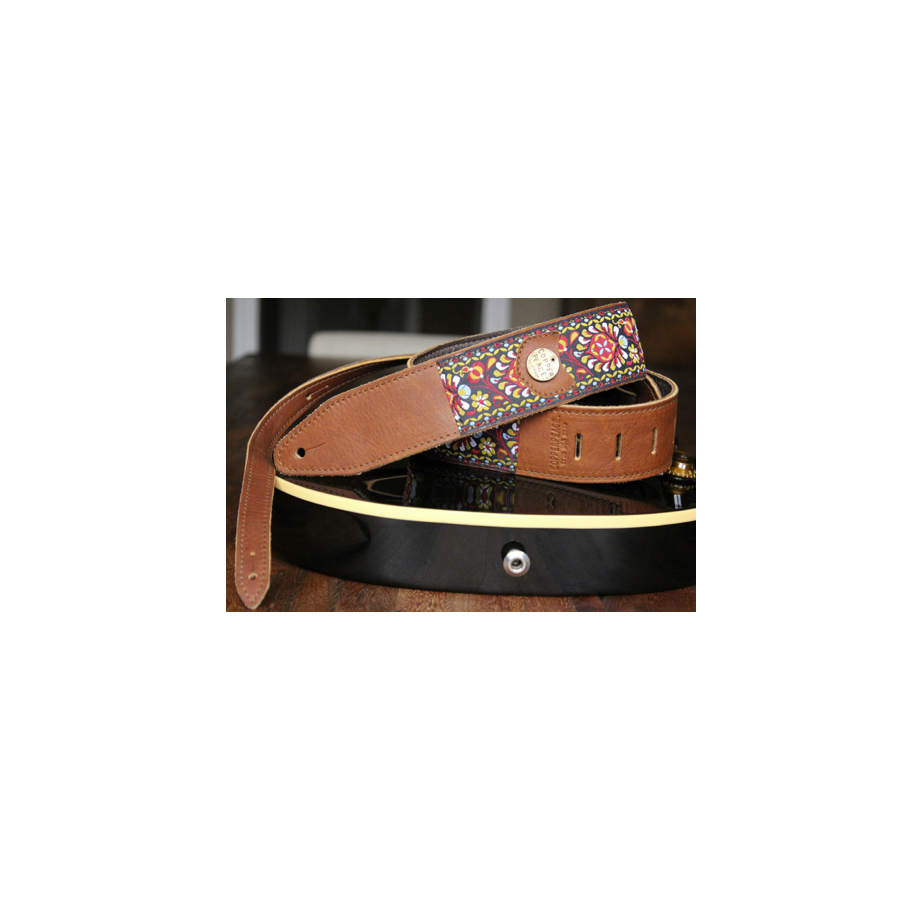 Copper Peace Gypsy Leather Guitar Strap View 2