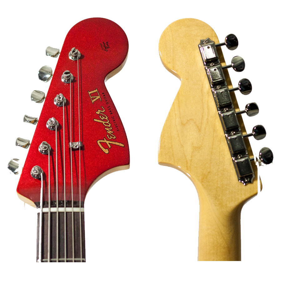 Fender 2013 LTD Bass VI Candy Apple Red Headstock