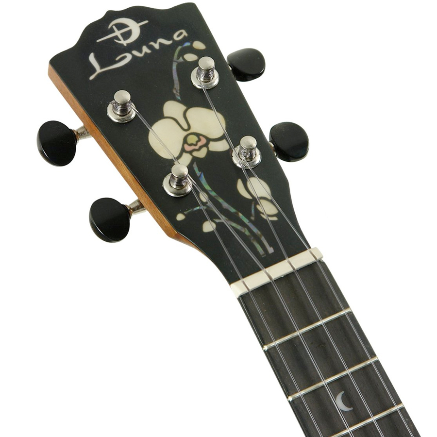 Luna Guitars Orchid Concert Solid Wood Ukulele Headstock View