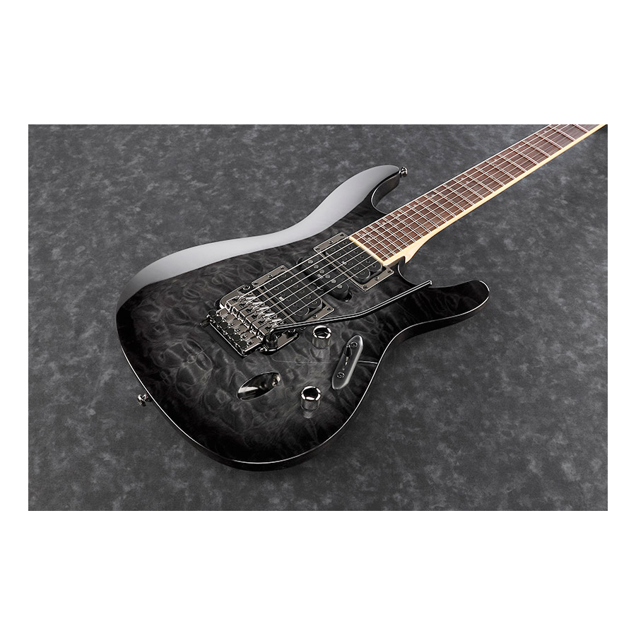 Ibanez S670QM Transparent Gray Burst View 2