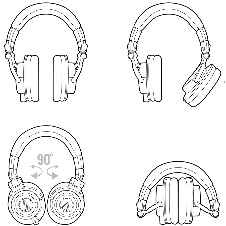 Audio Technica ATH-M50x Black Folded Diagram