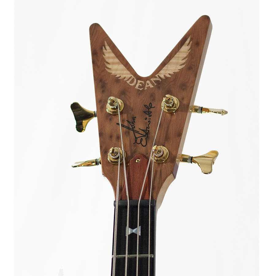 Dean USA John Entwistle Spider Redwood Burl Bass Ltd Headstock Detail