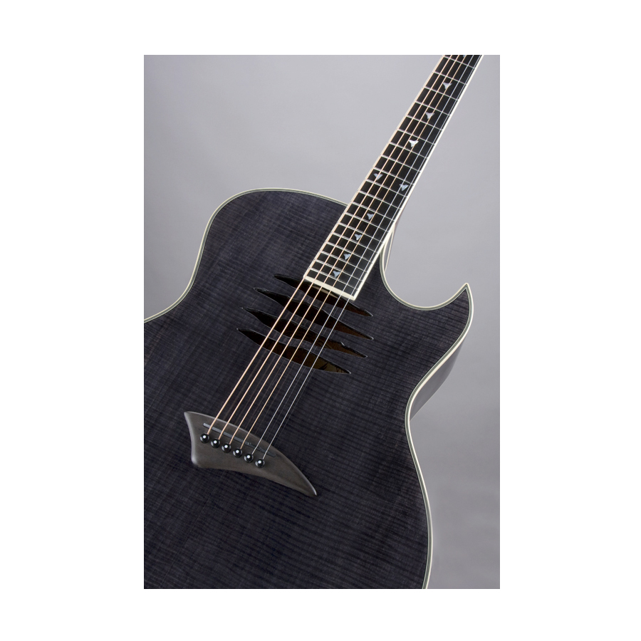Dean Mako Dave Mustaine Acoustic Electric Guitar Trans Black Soundhole Detail