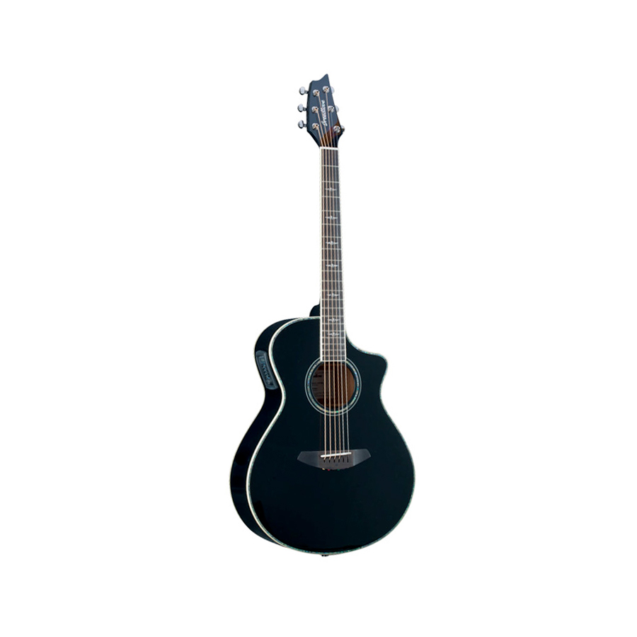 Breedlove Stage Black Magic Concert Guitar Angled View