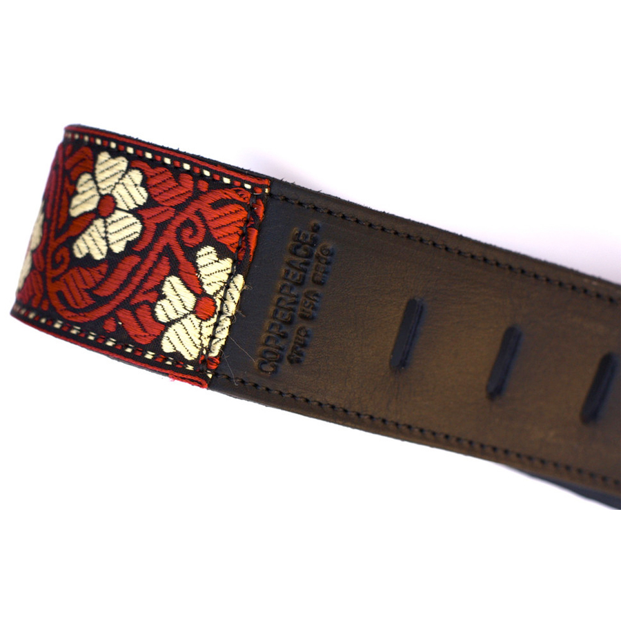 Copper Peace Vintage May Retro Leather Guitar Strap View 2