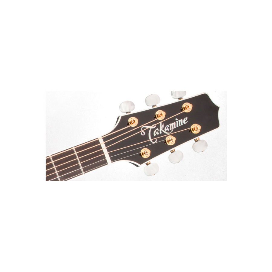 Takamine P6JC Brown Sunburst Headstock Detail