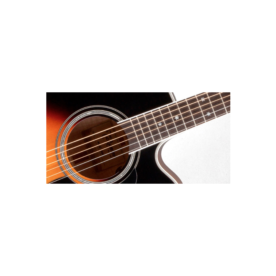 Takamine P6JC Brown Sunburst Soundhold Detail