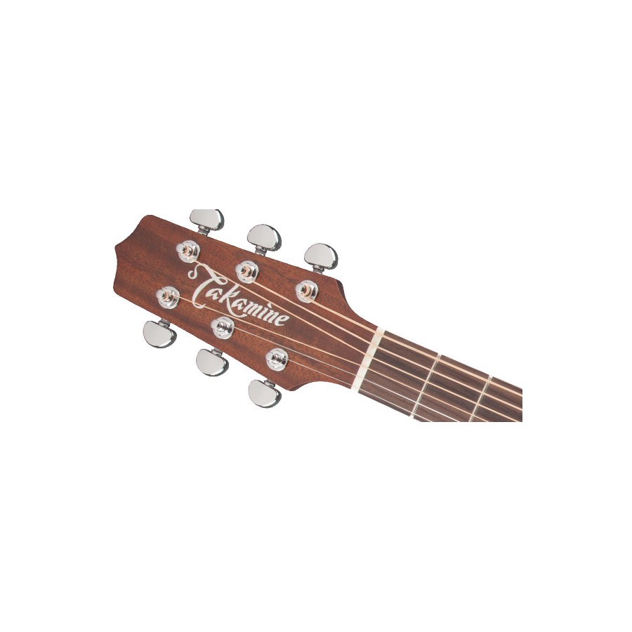 Takamine P1DC Left-Handed Natural Headstock