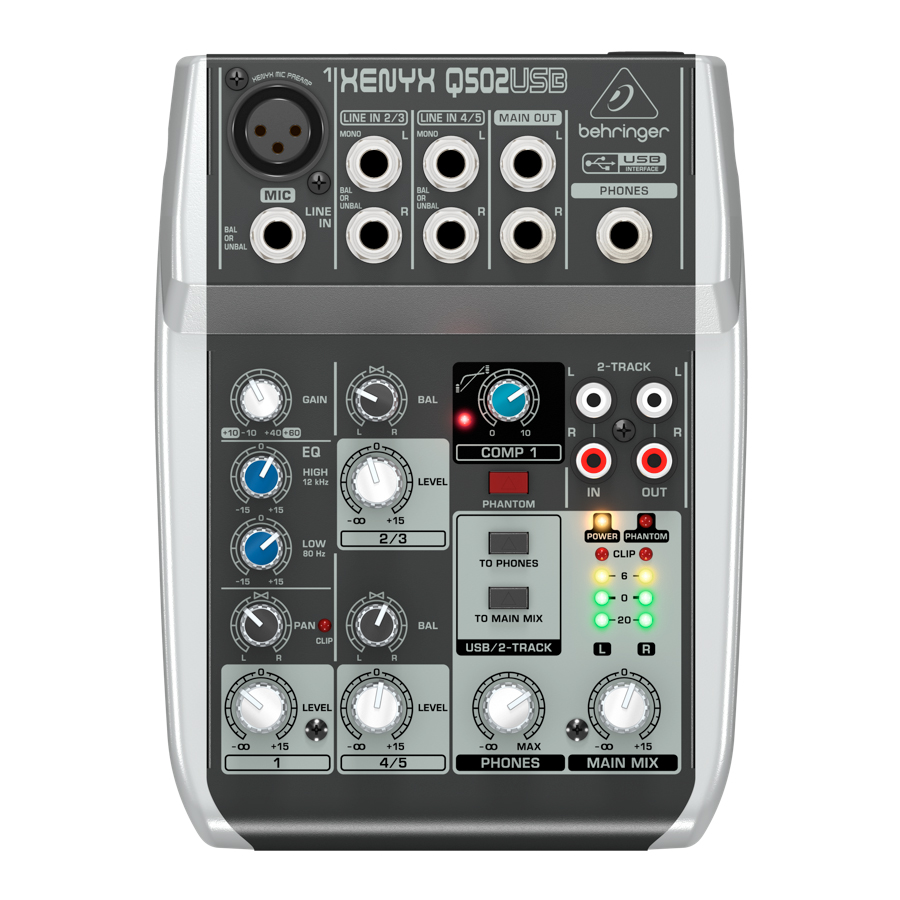 Behringer Q502USB  Rear View