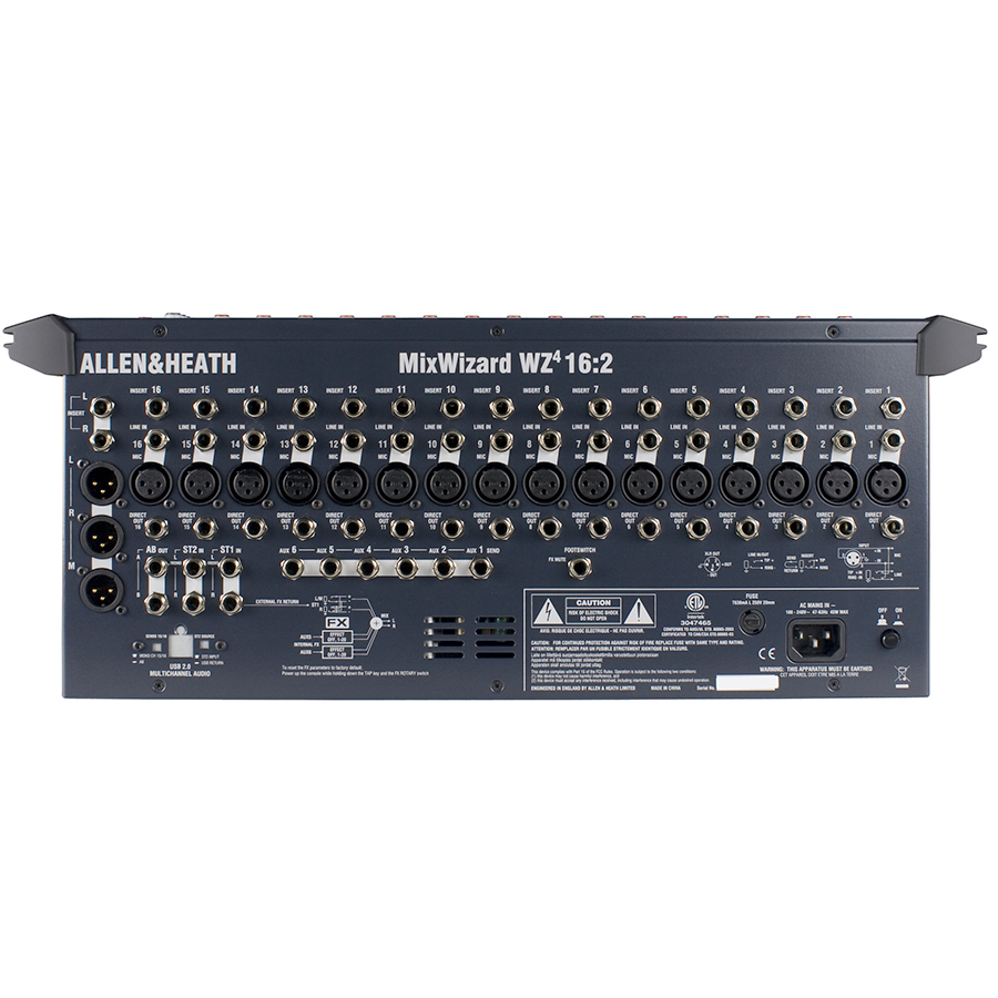 Allen Heath MixWizard WZ4 16:2 Rear View