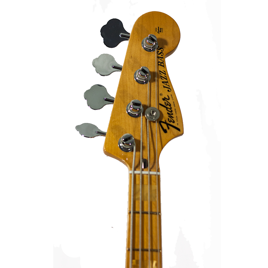 Fender FSR American Vintage 75 Jazz Bass Aged Natural Headstock