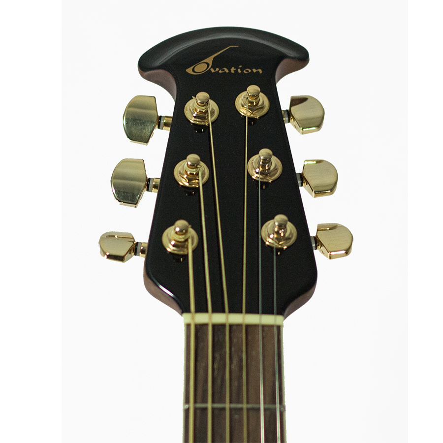 Ovation CC48-8T Celebrity Deluxe - Transparent Blue Blemished Headstock Detail