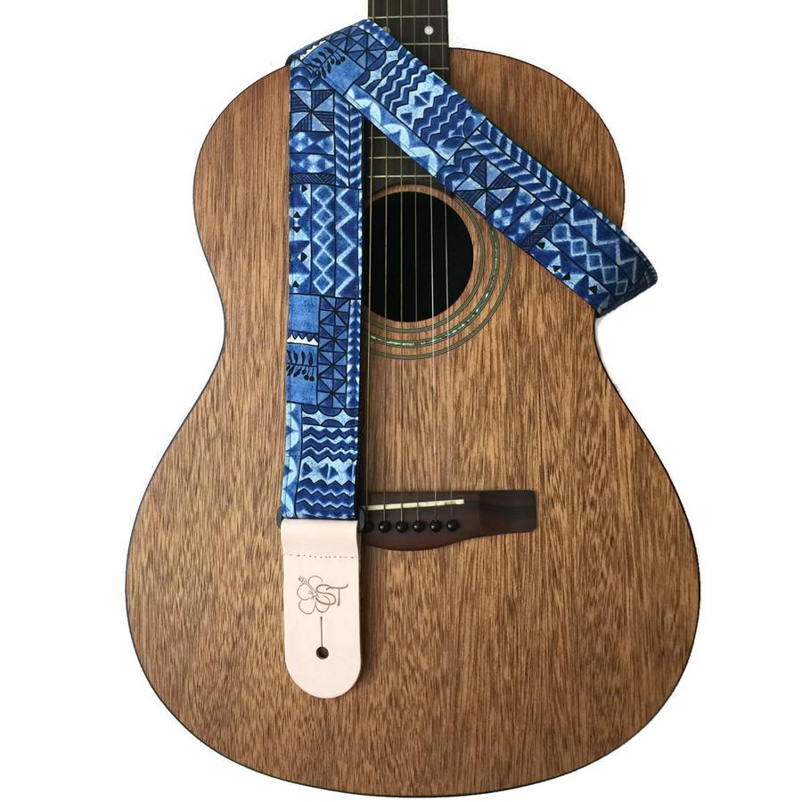 Hawaiian Guitar Straps Ocean Blue Tapa
