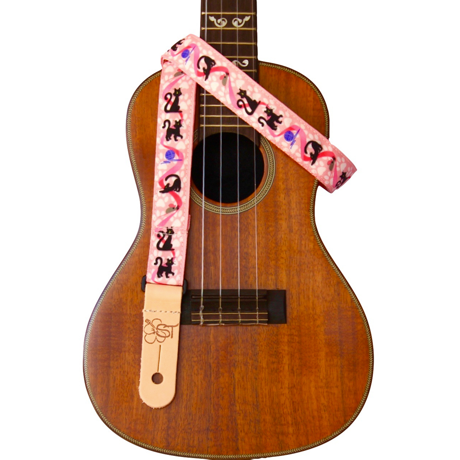 Printed Ukulele Straps - Cats on Pink